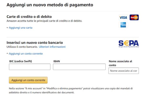 Amazon conto corrente
